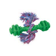 Brinquedo-Halteres-Macico-de-Borracha-com-Corda-Furacao-Pet---Verde